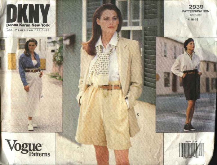 Vogue Sewing Pattern 2939 Misses size 14-16-18 DKNY Easy Wrap Skirt Shorts