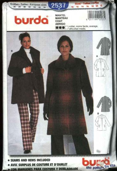 Burda Sewing Pattern 2537 Misses  Size 10-22 Winter Coat Jacket