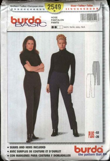 Burda Basic Sewing Pattern 2549 Misses Size 6-26 Easy Close-fitting Tapered Pants