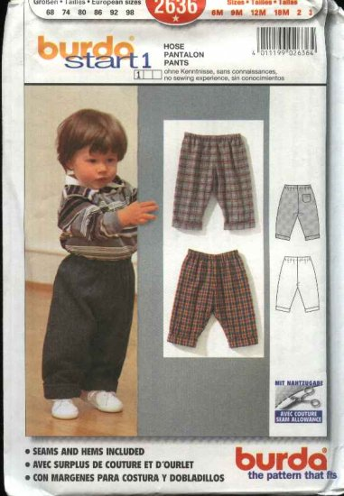 Burda Sewing Pants 2636 Child's Size 6 month to 3 years Easy pull-on Pants