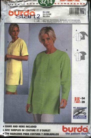 Burda Sewing Pattern 3214 Misses Size 10-28 Easy Blouse Top Tunic Shirt Bluse Blusa