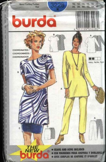 Burda Sewing Pattern 3228 Misses Size 10-20 Easy Wardrobe Top Pants Skirt Tunic