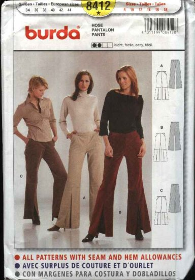 Burda Sewing Pattern 8412 Misses Size 8-18 Easy Fitted Wide Leg Bell Bottom Pants