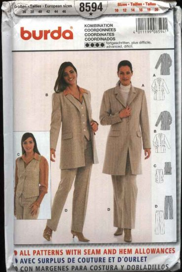 Burda Sewing Pattern 8594 Misses size 10-20 Jacket Vest Pants Pantsuit Coordinates