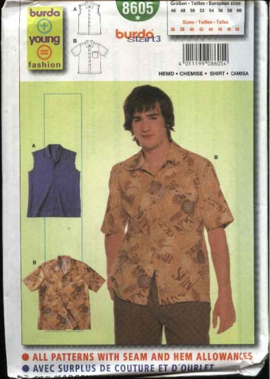 Burda Sewing Pattern 8605 Teen Boys Mens Sizes 36-50 Easy Shirt