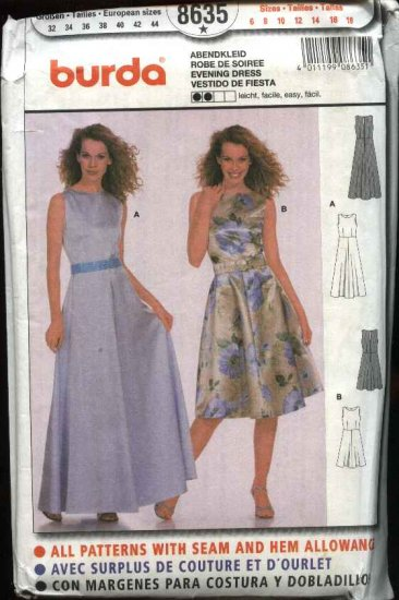 Burda Sewing Pattern 8635 Misses Size 6-18 Easy Evening Dress Gown Formal Belt