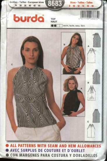 Burda Sewing Pattern 8683 Misses Size 8-18 Easy Fitted Halter top