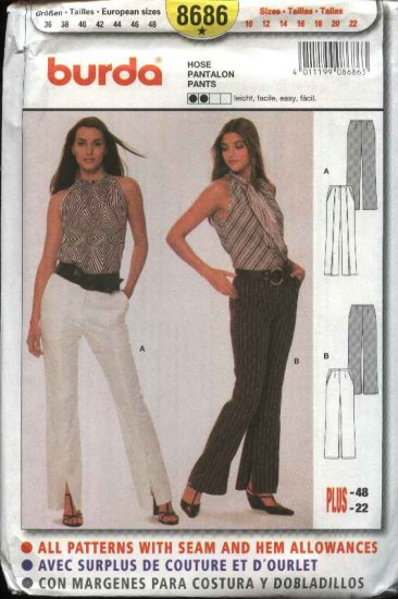 Burda Sewing Pattern 8686 Misses Size 10-22 Easy Pants Trousers Slacks