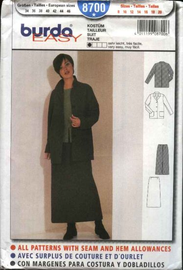 Burda Sewing Pattern 8700 Misses size 8-20 Easy Suit Jacket A-line Skirt