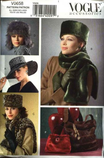 Vogue Accessories Sewing Pattern 0658 Misses Womens Fur Hats Purses Scarf Pocketbook Bag