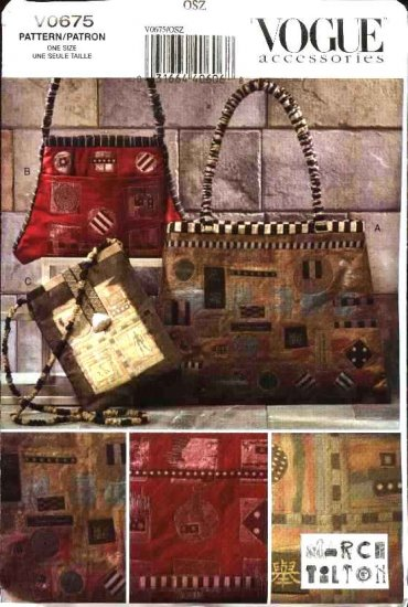 Vogue Sewing Pattern 0675 8173 Marcy Tilton Handbags Purses Bags Pocketbooks Embellished