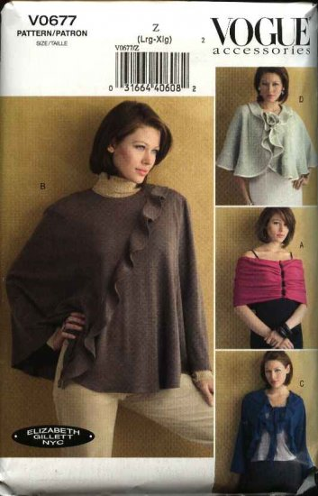 Vogue Sewing Pattern 0677 8212 Misses Size 16-22 Wrap Cape Shrug Elizabeth Gillett