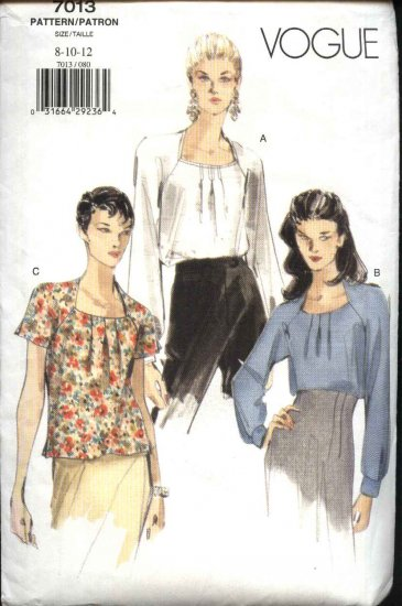 Vogue Sewing Pattern 7013 Misses Size 8-12 Easy Pullover Blouse Top
