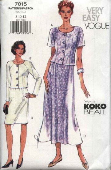 Vogue Sewing Pattern 7015 Misses Size 20-22-24 Easy Koko Beall Top Skirt Suit