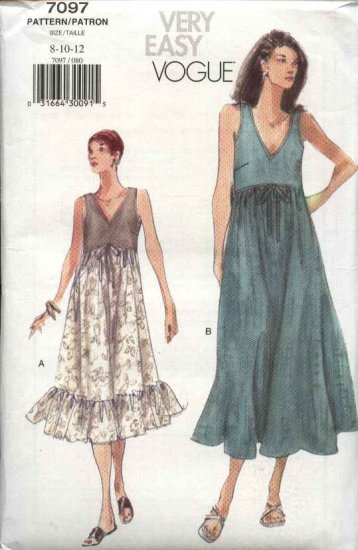 Vogue Sewing Pattern 7097 Misses Size 8-10-12 Easy Pullover Summer Dress Empire Waist