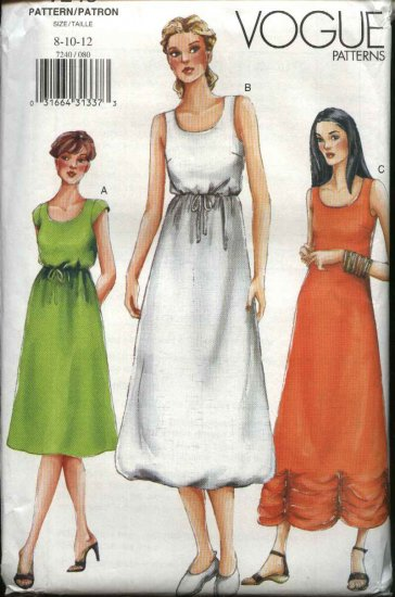 Vogue Sewing Pattern 7240 Misses Size 8-12 Pullover Summer Sleeveless Dress