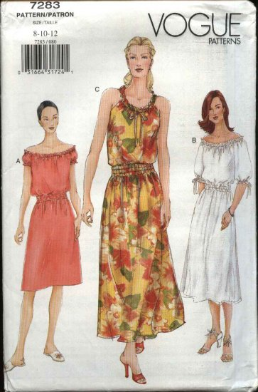 Vogue Sewing Pattern 7283 Misses Size 8-12 Easy Peasant Summer Dress