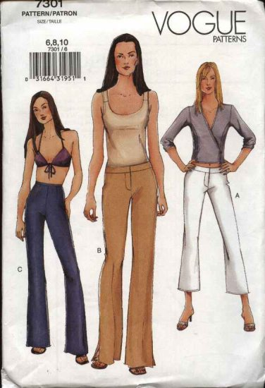 Vogue Sewing Pattern 7301 Misses Size 6-8-10 Easy Boot-legged Lo-Rise Pants Capris