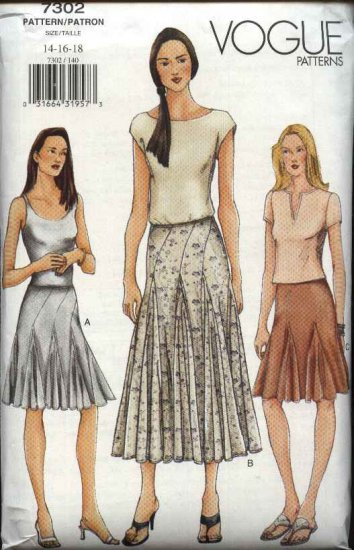 Vogue Sewing Pattern 7302 Misses Sizes 14-16-18 Fitted Flared Godets Skirt