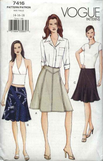 Vogue Sewing Pattern 7416 Misses Size 14-16-18 Easy Flared Skirt Yoke Option