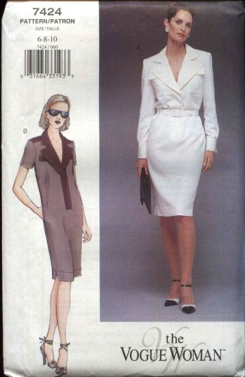 Vogue Woman Sewing Pattern 7424 Misses Size 6-10 Straight Dress