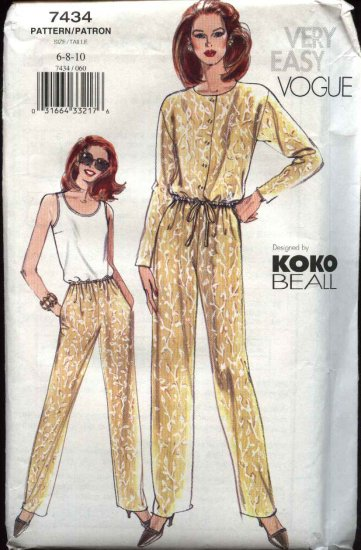 Vogue Sewing Pattern 7434 Misses Size 12-14-16 Easy Top Shell Jacket Pants Koko Beall