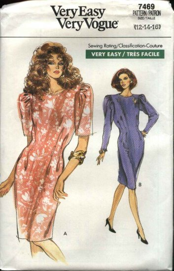 Retro Vogue Sewing Pattern 7469 Misses Size 12-16 Easy  Dress