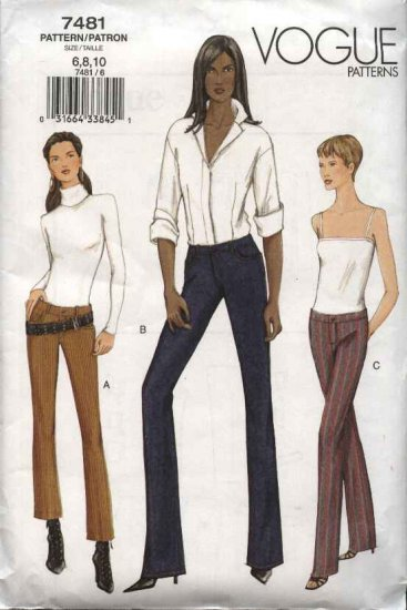 Vogue Sewing Pattern 7481 Misses Size 6-8-10 Fitted Low-Rise Yoke Pants Jeans