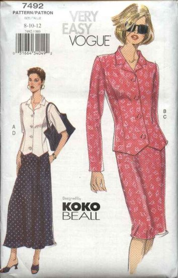 Vogue Sewing Pattern 7492 Misses Size 14-16-18 Easy Koko Beall Fitted Top Skirt Suit