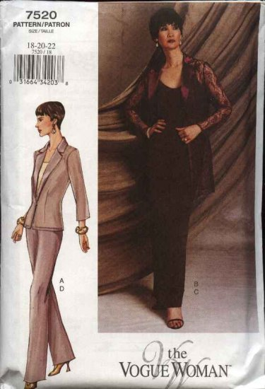 Vogue Woman Sewing Pattern 7520 Misses Size 6-8-10 Jacket Camisole Skirt Pants Suit