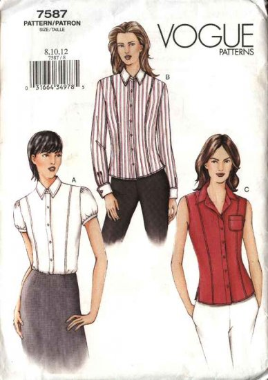 Vogue Sewing Pattern 7587 Misses Size 8-10-12 Fitted  Shirts Blouse Top