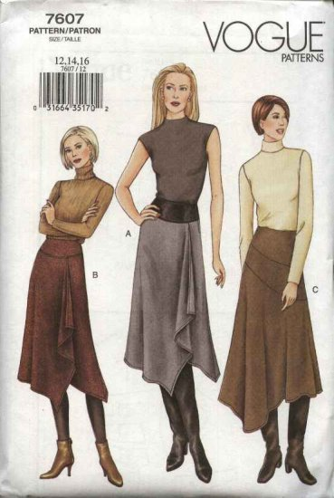 Vogue Sewing Pattern 7607 Misses Size 18-20-22 Easy Contoured Asymmetrical Skirts