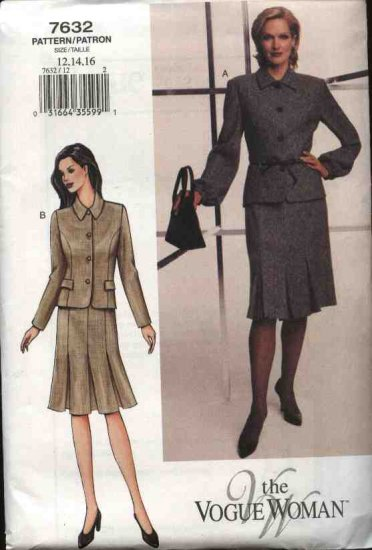 Vogue Woman Sewing Pattern 7632 Misses Size 12-14-16 Suit Jacket Skirt Top