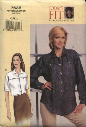 Vogue Sewing Pattern 7636 Misses Size 16-22 Sandra Betzina Easy Yoke Shirt Top