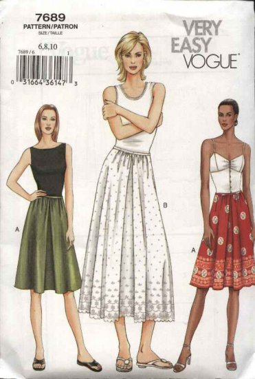 Vogue Sewing Pattern 7689 Misses Size 18-20-22 Easy Dirndl Gathered Skirt A-line half-Slip