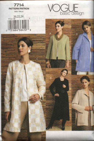 Vogue Sewing Pattern 7714 Misses Size 20-22-24 Easy Basic Jacket Duster
