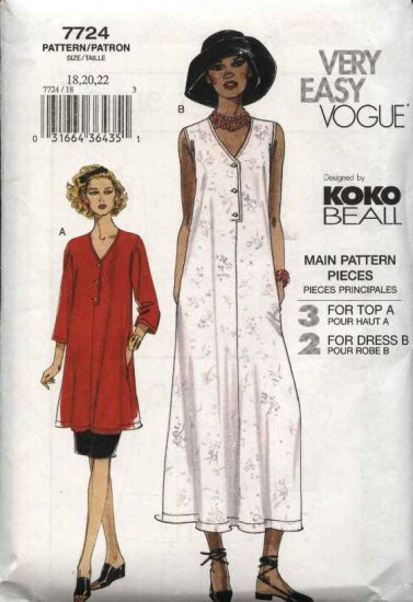Vogue Sewing Pattern 7724 Misses Size 6-8-10 Koko Beall Easy Loose Dress Top Skirt