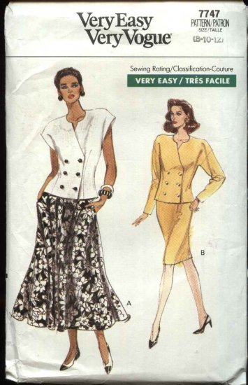Vogue Sewing Pattern 7747 Misses Size 8-12 Easy Top Jacket Skirts Suit