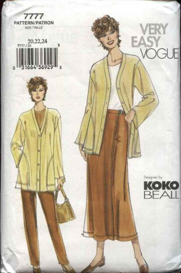 Vogue Sewing Pattern 7777 Misses size 20-22-24 Koko Beall Pants Wrap Skirt Jacket