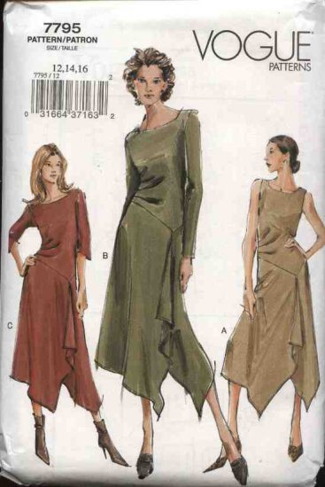 Vogue Sewing Pattern 7795 Misses Size 12-14-16 Easy Flared Asymmetrical Dress