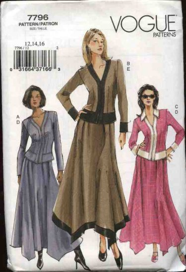 Vogue Sewing Pattern 7796 Misses Size 12-14-16 Jacket Skirt Top Two Piece Dress