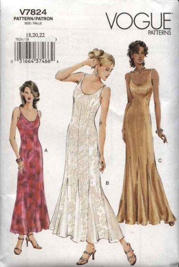 Vogue Sewing Pattern 7824 Misses size 18-20-22 Formal Evening Gown Flared Godet Skirt Dress