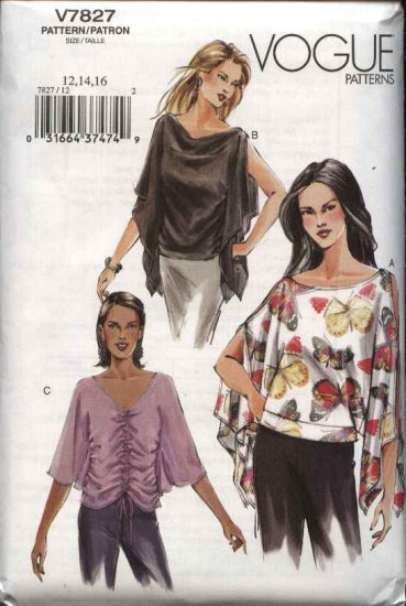 Vogue Sewing Pattern 7827 Misses size 6-8-10 Easy Loose Pullover Top