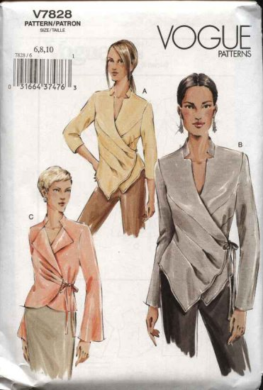 Vogue Sewing Pattern 7828 P937 Misses Size 18-20-22 Easy Front Wrap Blouse Top