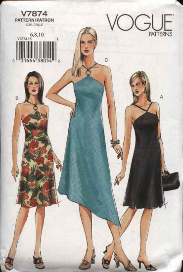 Vogue Sewing Pattern 7874 Misses Size 12-14-16 Easy Halter Summer Dress Sundress