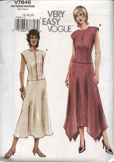 Vogue Sewing Pattern 7846 Misses size 8-10-12 Easy Fitted Summer Dresses