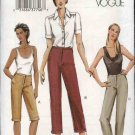 Vogue Sewing Pattern 7858 Misses Size 12-14-16 Easy Fitted Pants Capris Shorts
