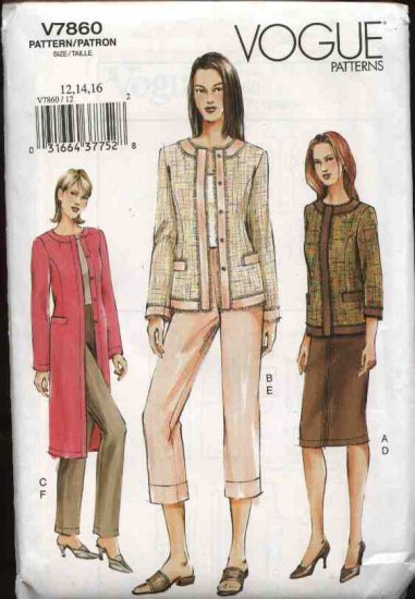 Vogue Sewing Pattern 7860 Misses Size 12-14-16 Jacket Skirt Pants Suit Pantsuit Wardrobe