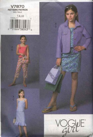 Vogue Sewing Pattern 7870 Girls size 7-8-10 Easy Blue Jean Jacket Skirt Top Pants Wardrobe