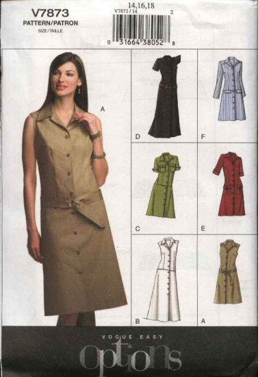 Vogue Sewing Pattern 7873 Misses Size 14-16-18 Easy Button Front Dress